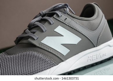 Los Angeles, CA, USA - July 25, 2019: Close-up of New Balance white «N» logo on 247 modern running sneakers with REVlite sole