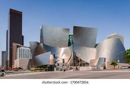 Los Angeles, CA / USA - July 26 2015: The junction of South Grand Avenue and 1st street West. The Walt Disney Concert Hall. dominates the picture.