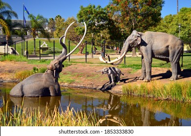 Los Angeles, CA, USA July 24 A prehistoric scene is depicted in the La Brea Tar Pits in Los Angeles