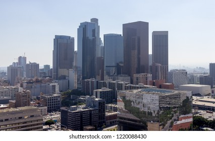 Los Angeles, CA / USA - June 8 2018: Downtown Los Angeles Skyline Cityscape Hazy Summer Day from City Hall