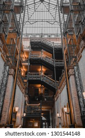 Los Angeles, CA USA - June 11 2018: interior of Bradbury Building, historic building in center of the city, was showcased in 'Bladerunner' movie and Justin Timberlake 'Say Something' video