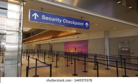 Los Angeles, CA / USA - June 12, 2019: walkway to TSA security checkpoint at Los Angeles International Airport (LAX)