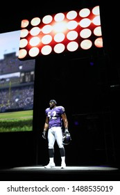Los Angeles, CA/ USA - June 6, 2011: Ravens NFL football player  Ray Lewis is introduced onstage during EA Sports 'Madden 12' demo at the 2011 EA E3 Press Conference in Los Angeles.