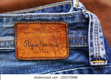 Los Angeles, CA, USA - March 28, 2019: Close-up of an old badge of Pepe Jeans