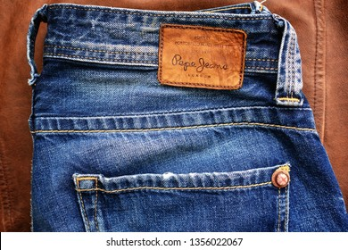 Los Angeles, CA, USA - March 28, 2019: Close-up of an old pair Pepe Jeans