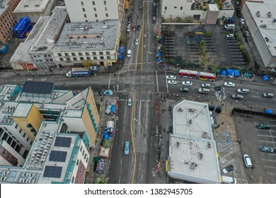 LOS ANGELES, CA, USA - MARCH 15, 2019: Aerial drone photo of Los Angeles Skid Row occupied by homeless people dangerous neighborhoods