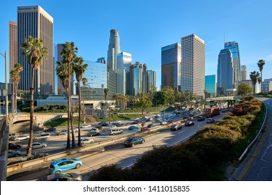 Los Angeles, CA / USA - March 23 2019: Los Angeles, California downtown cityscape.