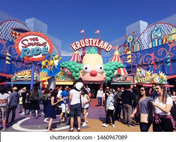 Los Angeles, CA, USA - March 26 2017: Krustyland and Simpson's ride in Universal studios