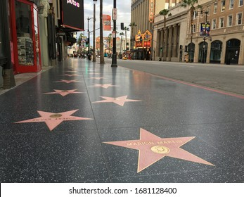 Los Angeles, CA / USA - March 23, 2020: Empty Hollywood Walk of Fame during COVID-19 Pandemic