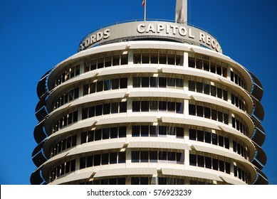 Los Angeles, CA, USA March 16, 2009 The landmark Capitol Records Building in Los Angeles, California was designed to resemble a stack of records on a turntable.