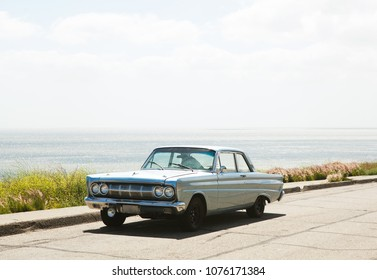 Los Angeles, CA / USA - May 09 2017: Old car on the ocean.