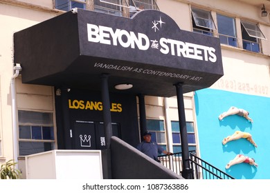 Los Angeles, CA/ USA - May 08, 2018:The Beyond The Streets art exhibit entrance and sign at a warehouse in Downtown, Los Angeles.