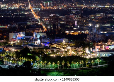 Los Angeles, CA, USA - May 26th, 2018: Night view to Universal Studios. Universal Studios Hollywood is a film studio and theme park in the San Fernando Valley area of Los Angeles County, California.