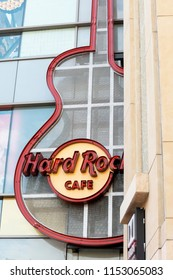 Los Angeles, CA, USA - May 26, 2018: Hard Rock Cafe on 6801 Hollywood Blvd in Los Angeles. Hard Rock Cafe Inc. is a chain of theme restaurants founded in 1971 in London.