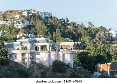 Los Angeles, CA, USA - May 26th, 2018: Scenic view to mountain hill with beautiful buildings located in Los Angeles.
