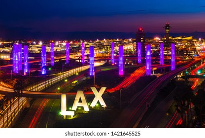 Los Angeles, CA, USA - May 25, 2019: The iconic LAX sign is located at the Century Boulevard entrance to the Los Angeles International Airport.