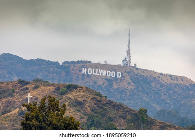 Los Angeles, CA, USA - May 30 2018: Cloudy weather on the Hollywood Sign