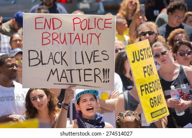 Los Angeles, CA, USA - May 02, 2015: Woman holding sign during march against the death of Freddie Gray, a man of Baltimore who was seriously injured in police custody.