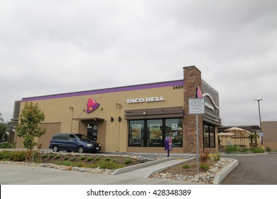 Los Angeles, CA, USA - May 9, 2016: Taco Bell is an American chain of fast food restaurants serving a variety of Tex-Mex foods including tacos, burritos, quesadillas, nachos and other specialty items.