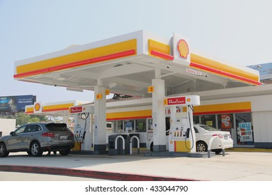 Los Angeles, CA, USA - May 9, 2016: Royal Dutch Shell Plc or Shell is an Anglo-Dutch multinational oil and gas company. It is the fourth largest company in the world as of 2014, in term of revenue.