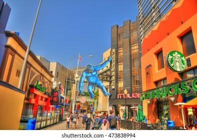 LOS ANGELES, CA, USA - MAY 13, 2016 Colorful image of the famous Universal CityWalk Hollywood. is a three block entertainment, dining and shopping located next to the Universal Studios theme park.