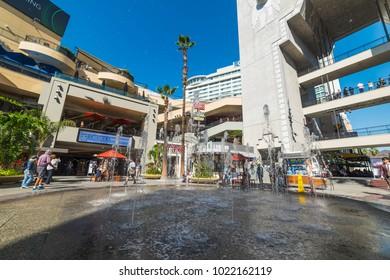 Los Angeles, CA, USA - November 02, 2016: Fountain in Hollywood & Highland mall
