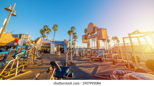 Los Angeles, CA, USA - November 03, 2016: World famous Muscle Beach under a clear sky at sunset