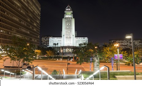 Los Angeles, CA, USA - November 10, 2016: Los Angeles City Hall at night. The building completed in 1928 is the center of the government of the city of Los Angeles, California.