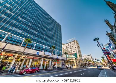 Los Angeles, CA, USA - November 02, 2016: Store signs in Hollywood boulevard