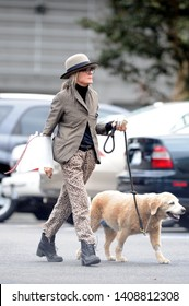 LOS ANGELES, CA, USA - OCTOBER 30, 2016: Diana Keaton takes her dog to the Vet in Los Angeles