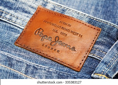 LOS ANGELES, CA, USA - October 18, 2015. Part of Jeans by Pepe Jeans London, back patch close-up