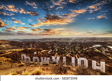 Los Angeles, CA, USA - October 28, 2016: Colorful sky over Hollywood sign