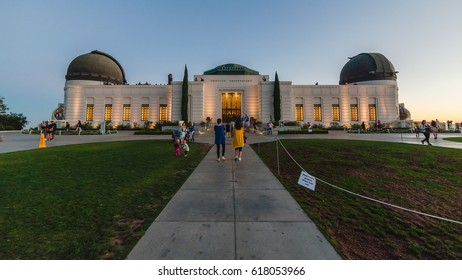LOS ANGELES, CA, USA - OCTOBER 2, 2016: In front of the Griffith Observatory building at the evening in Los Angeles
