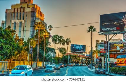 Los Angeles, CA, USA - October 29, 2016: Sunset boulevard at dusk