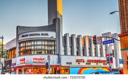 Los Angeles, CA, USA - October 29, 2016: Stores in Hollywood boulevard