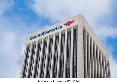 LOS ANGELES, CA, USA - SEP 18, 2017: Bank of America Center on Bunker Hill in Los Angeles Downtown.  It is a Class A Office skyscraper and was completed in 1974.