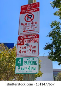 Los Angeles, CA / USA - September 11, 2019: Confusing parking parameters posted on Wilshire Blvd. in the Miracle Mile District in Los Angeles