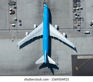 Los Angeles, CA / USA - September 13 2018: Aerial view of Royal Dutch Airlines Boeing 747 during push back at LAX airport. Straight down view of KLM B747, a passenger aircraft for long haul flights.