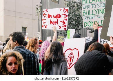 Los Angeles, CA / USA - Women's March 2017 in Downtown Los Angeles