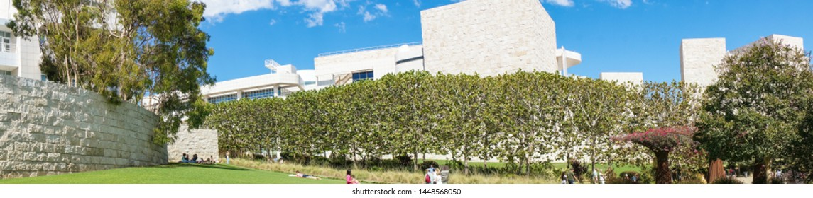 Los Angeles, California - 09/08/2013: Panoramic view of Garden at the Getty Center, Los Angeles, California, United States