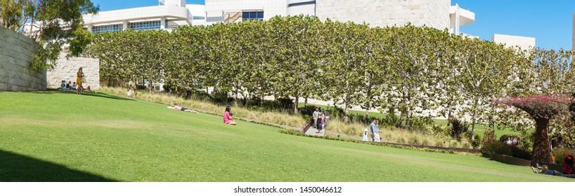 Los Angeles, California – 09/08/2013:  Panoramic view of Garden at Getty Center, Los Angeles, California, United States