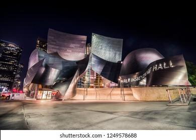 Los Angeles, California - 09/21/17: Walt Disney Concert Hall at night.
