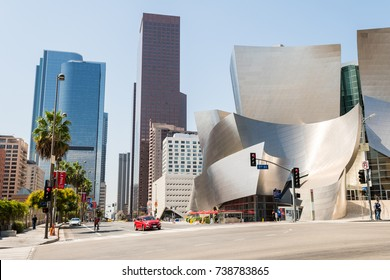 LOS ANGELES, CALIFORNIA. 1st September, 2017: disney concert hall is a famous building designed by frank gehry