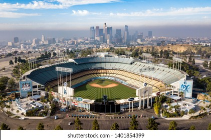 Los Angeles, California - 20 April 2019: The famous Dodger Stadium with downtown LA in the background