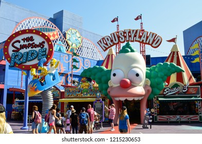 Los Angeles, California - 29 August, 2016 : The Simpsons Ride at Universal Studios Hollywood