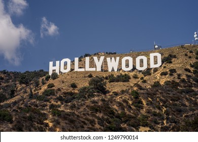 Los Angeles, California - 9/21/2017: Close up photo of Holywood sign taken from Mulholland Hwy during bright sunny day with blue sky.