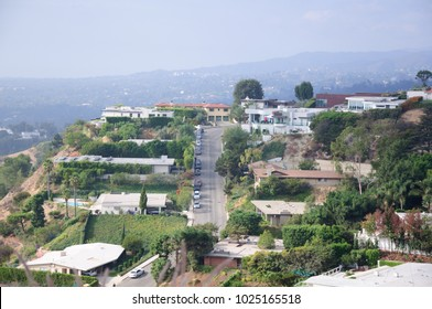 Los Angeles, California,  Aerial view of fashionable hillside homes near Laurel Canyon in the hills above West Hollywood.