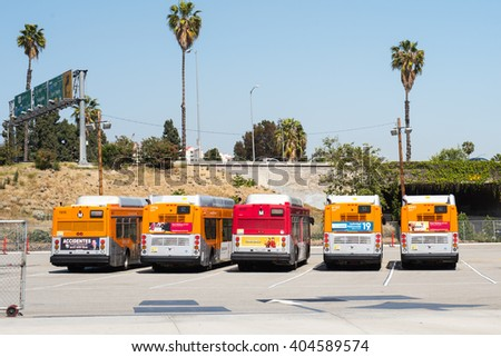 Los Angeles, California - April 10, 2016: Buses parked in a MTA parking lot.  Los Angeles's buses are operated by Los Angeles County Metropolitan Transportation Authority, second largest in the U.S.