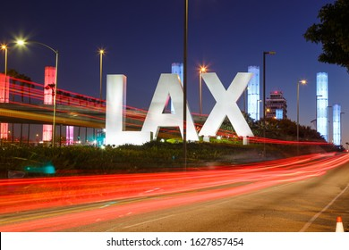 Los Angeles, California – April 12, 2019: Logo sign of Los Angeles International airport (LAX) in California.