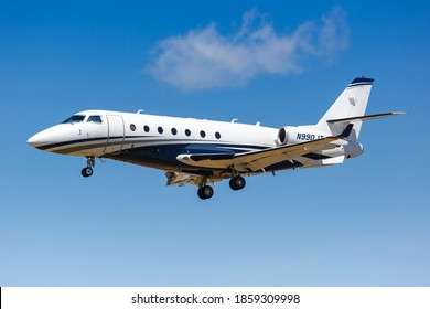 Los Angeles, California - April 12, 2019: Gulfstream G200 airplane at Los Angeles International Airport in California.